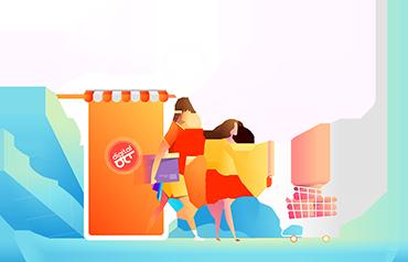 Мужчина и женьщина совершают покупку в интернете